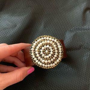 Leather and pearl bangle